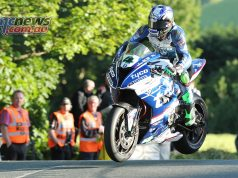 Ian Hutchinson at Ballaugh Bridge on the Tyco BMW Superbike