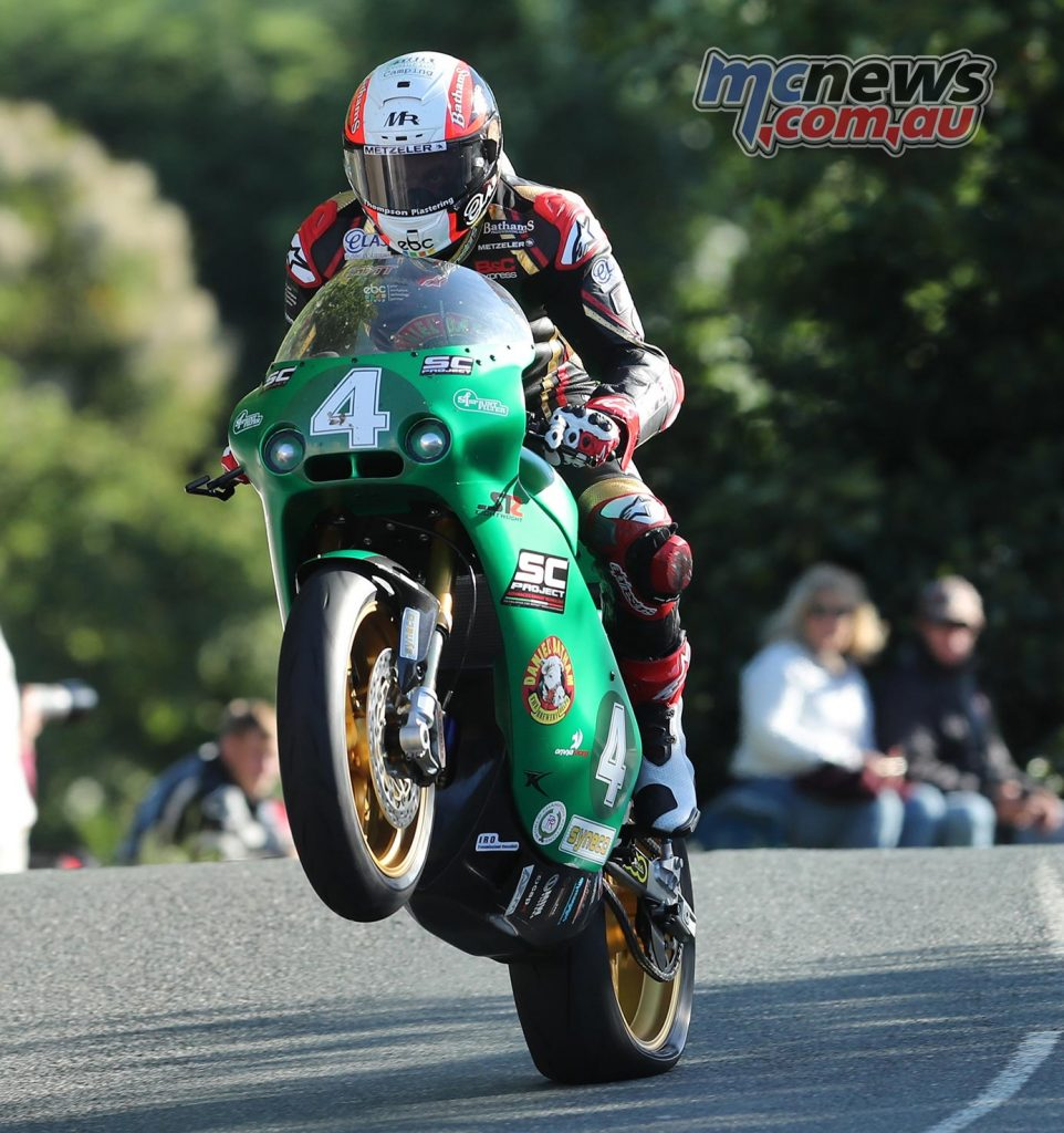 Michael Rutter tackles Ballaugh Bridge on his Paton Lightweight machine