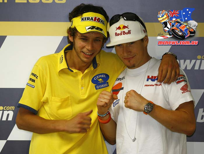 Nicky Hayden with Valentino Rossi in 2006, the year that Hayden beat the Italian superstart to the main price, the MotoGP World Championship