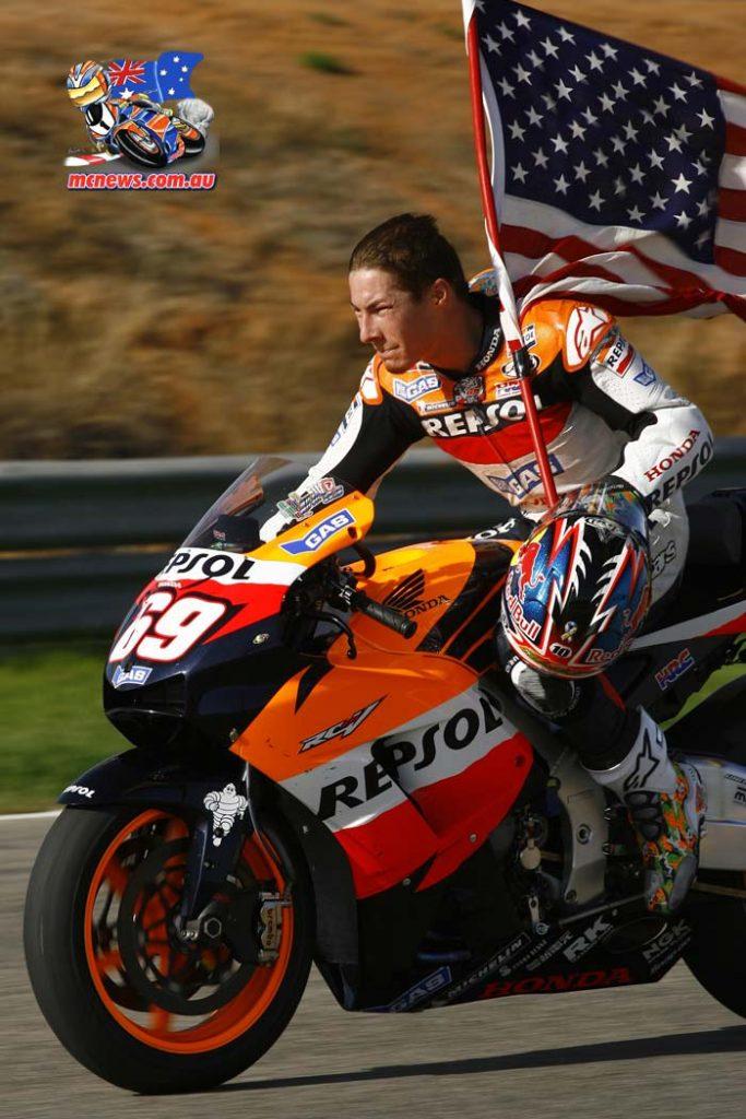 Nicky Hayden celebrates MotoGP victory in 2006