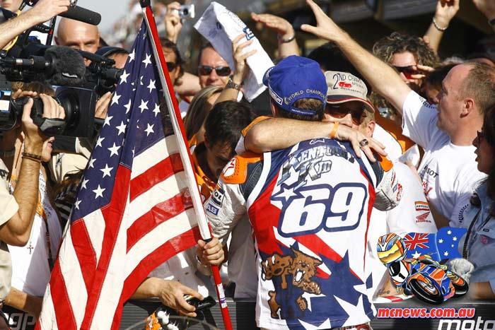 Nicky Hayden celebreates MotoGP victory in 2006