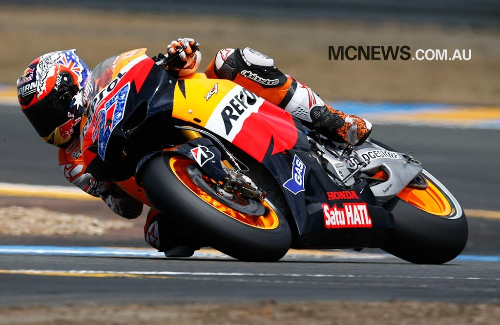Casey Stoner on his way to victory at Le Mans in 2011