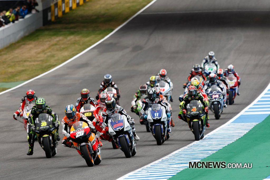 The start of the Jerez MotoGP race in 2012