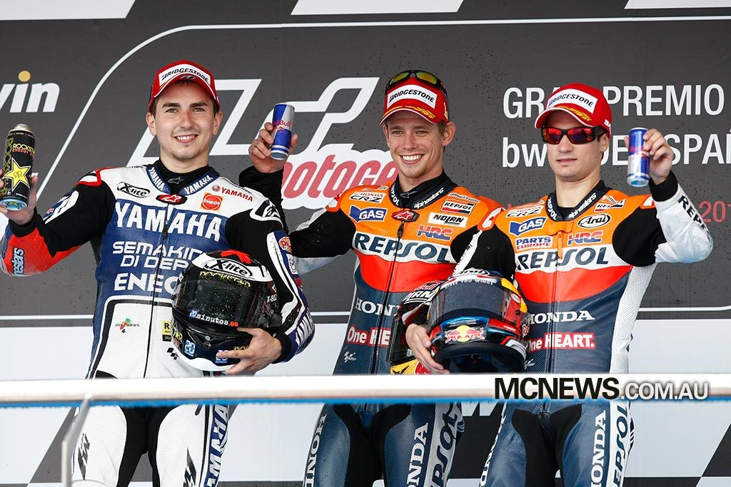 Casey Stoner won at Jerez in 2012. Seen here on the podium with Jorge Lorenzo and Dani Pedrosa