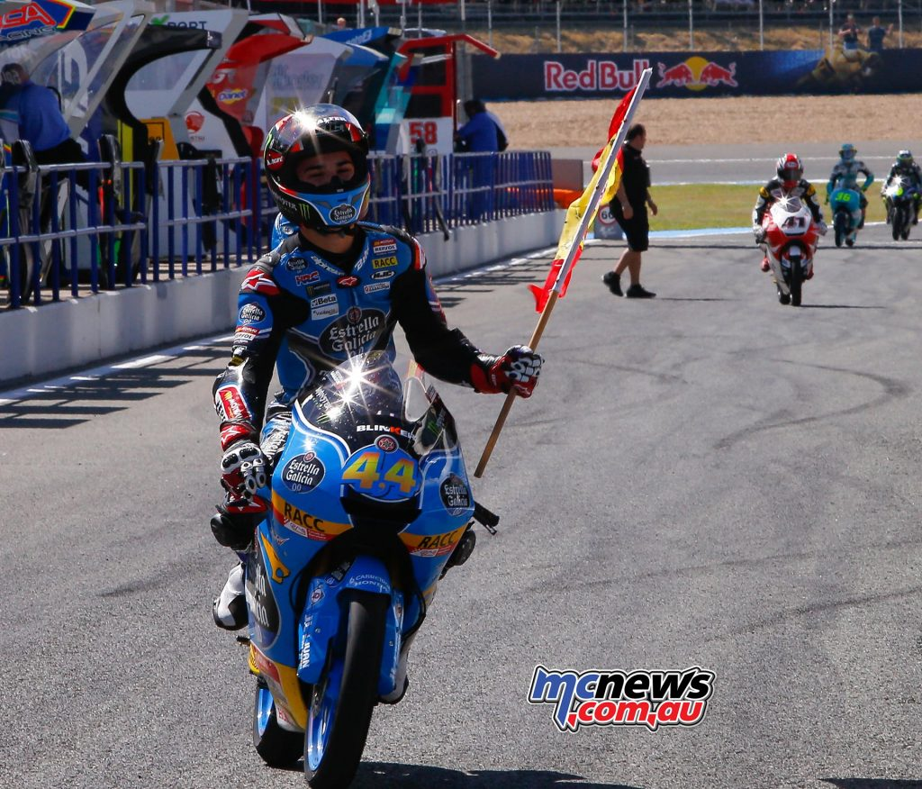 Aron Canet celebrates victory in Moto3 at Jerez