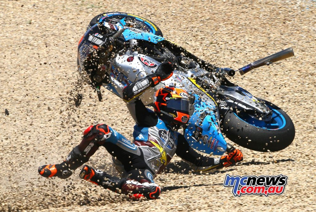 Tito Rabat ended up in the gravel at Jerez