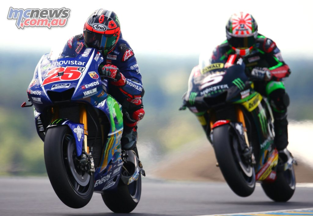Maverick Vinales led Johann Zarco home for a Yamaha 1-2 at Le Mans in 2007 - Image by AJRN