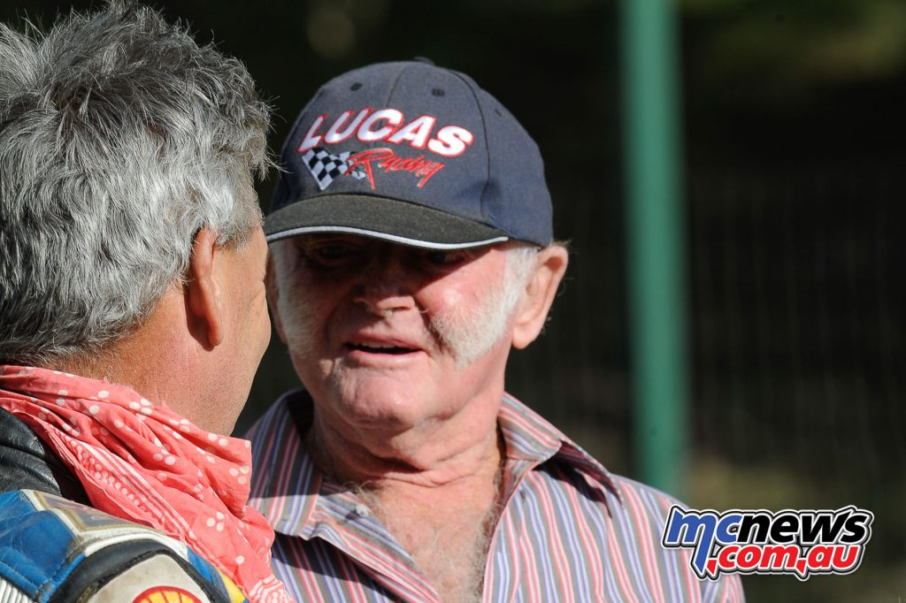 Robbie Armstrong (left) and racing icon Ken Lucas (right) at Myrtleford Reunion