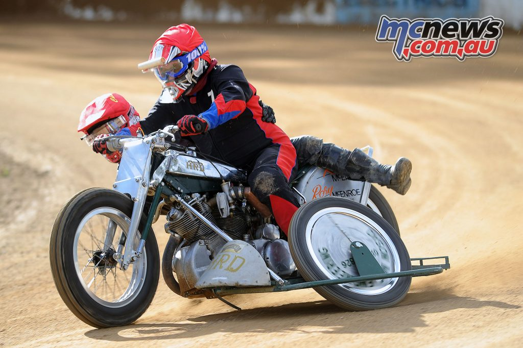 Rory McEnroe and Kev McEnroe on the mighty Vincent at Myrtleford Reunion