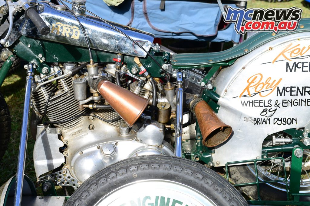 Old school air filter on a Vincent outfit at Myrtleford Reunion