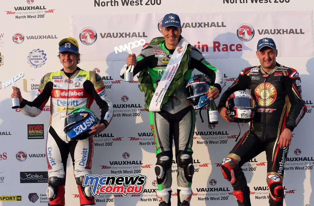 Martin Jessopp celebrates a double on the day when he added SuperTwins victory to his earlier Supersport success at NW200 2017. Also on the SuperTwins podium was Ivan Lintin and Michael Rutter