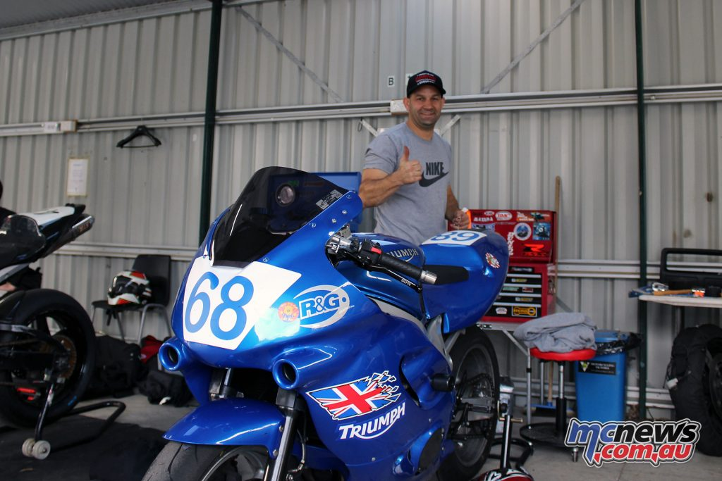 Michael Salamon in the pit garages at the Preston Bracket Racing Day - Image by Marty Thompson