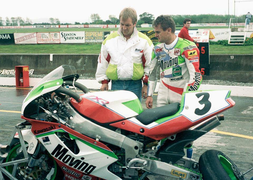 Robbie Phillis was a star of Australian Superbike in the 80s and 90s. Seen here with then TKA Team Manager Peter Doyle, who now happens to be CEO of Motorcycling Australia