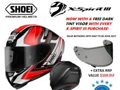 Shoei X Spirit-III Helmet Promotion - With a free Dark Tint Visor valued at $109.95 until June 30