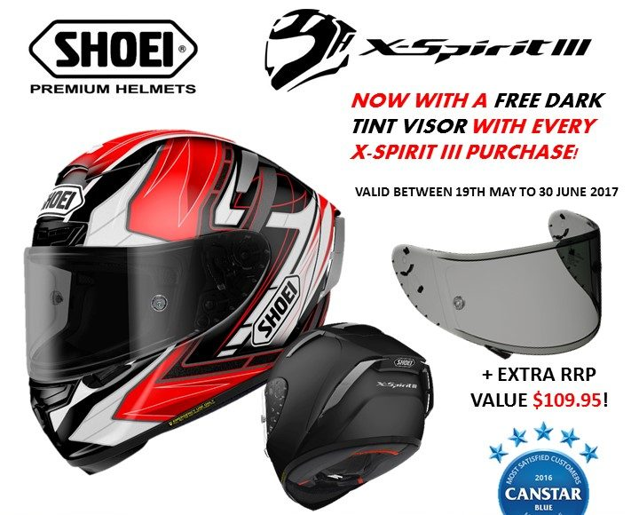 d6bfee2f Shoei X Spirit-III Helmet Promotion - With a free Dark Tint Visor valued at