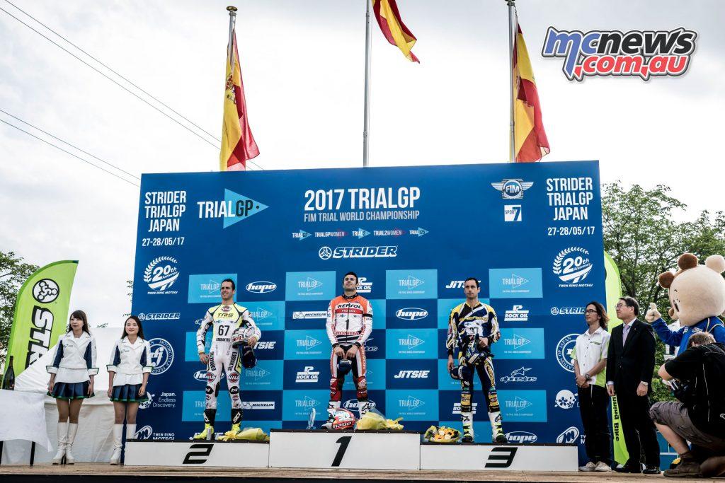 Toni Bou on the podium at Motegi