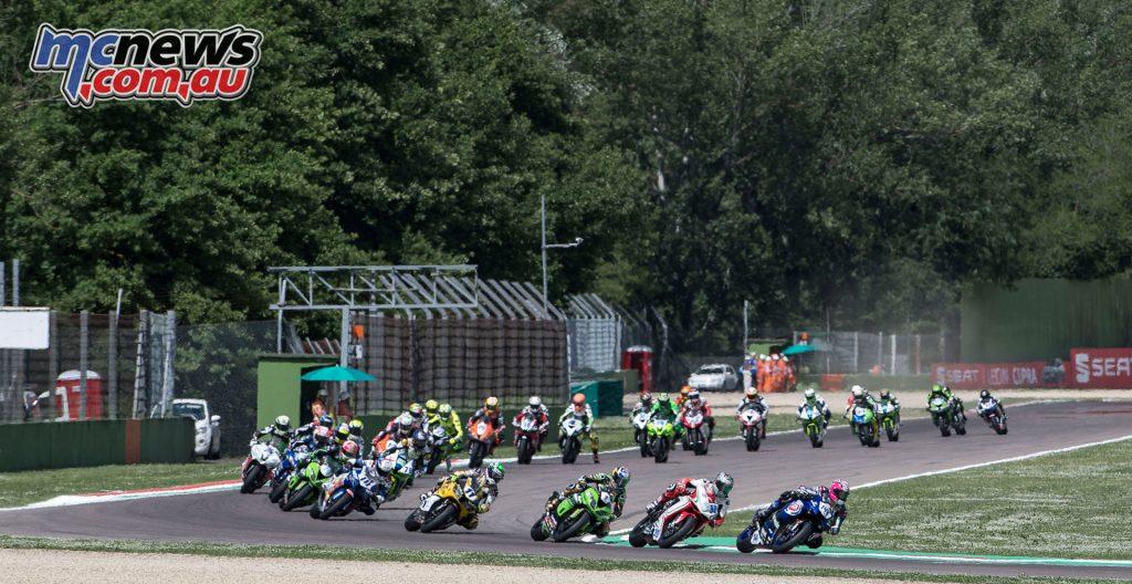 The World Supersport race at Imola saw three restarts