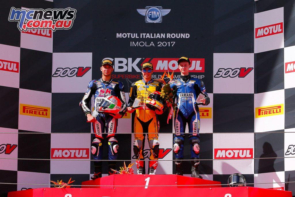 The WorldSSP300 podium at Imola