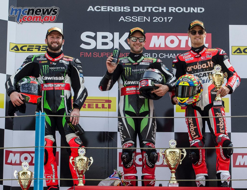 Kawasaki dominated the podium with Rea in the top spot and Sykes #2, Ducati's Davies took the final position.