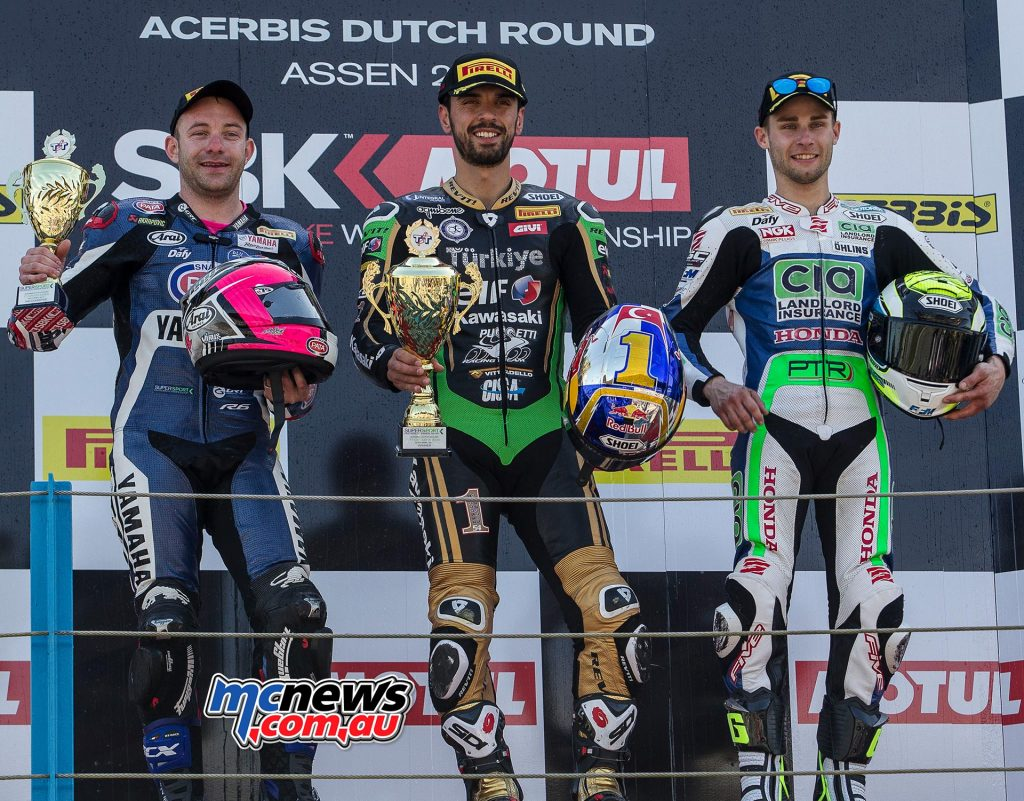 The WorldSSP podium at Assen saw Sofuoglu in the top spot, with 0.005s separating Mahias and Cluzel.