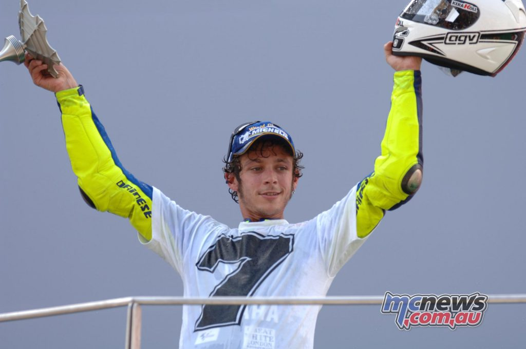 Valentino Rossi celebrating his second MotoGP title with Yamaha
