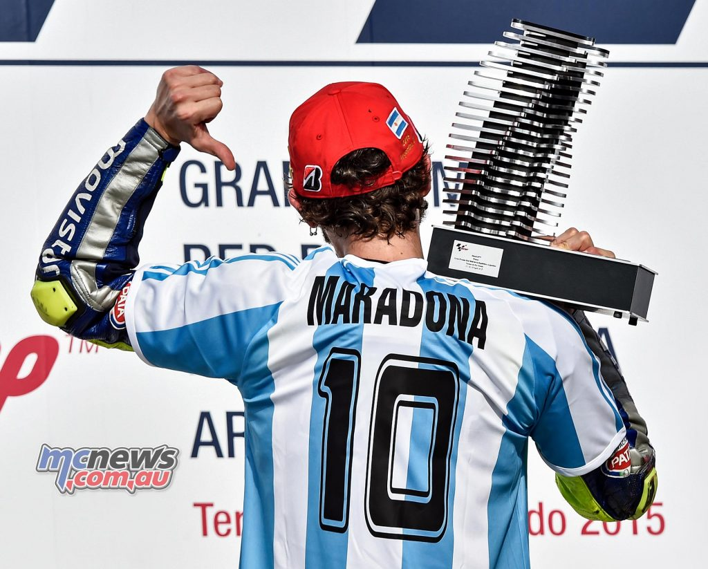 Valentino Rossi celebrated football great Diego Maradona on the podium in Argentina back in 2015