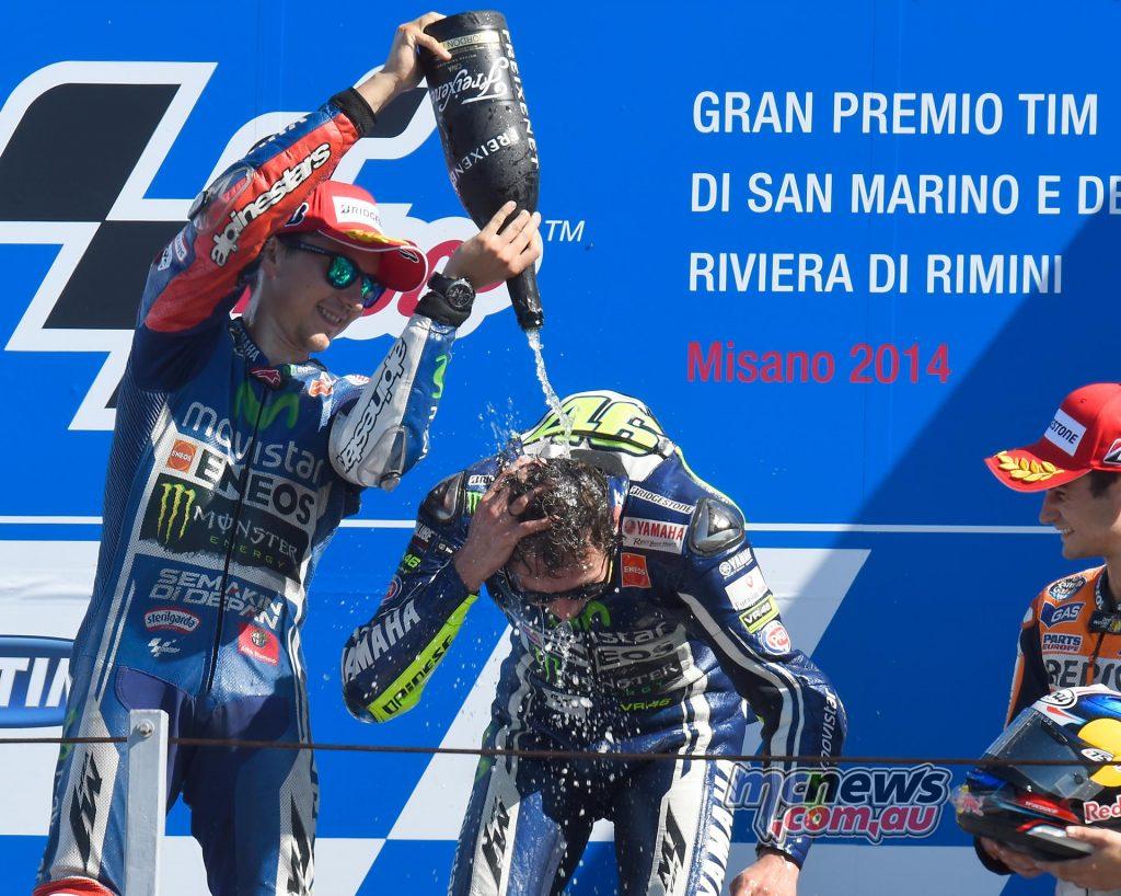 Valentino Rossi with Jorge Lorenzo - Misano 2014