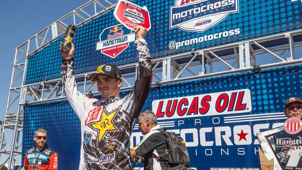 Zach Osborne is the year's first 250MX moto winner and overall winner. (Photo: George Crosland
