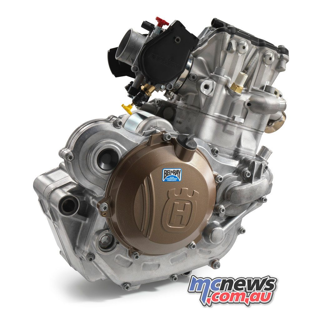 High-pressure die cast crankcases are featured on the FE 450 and 501