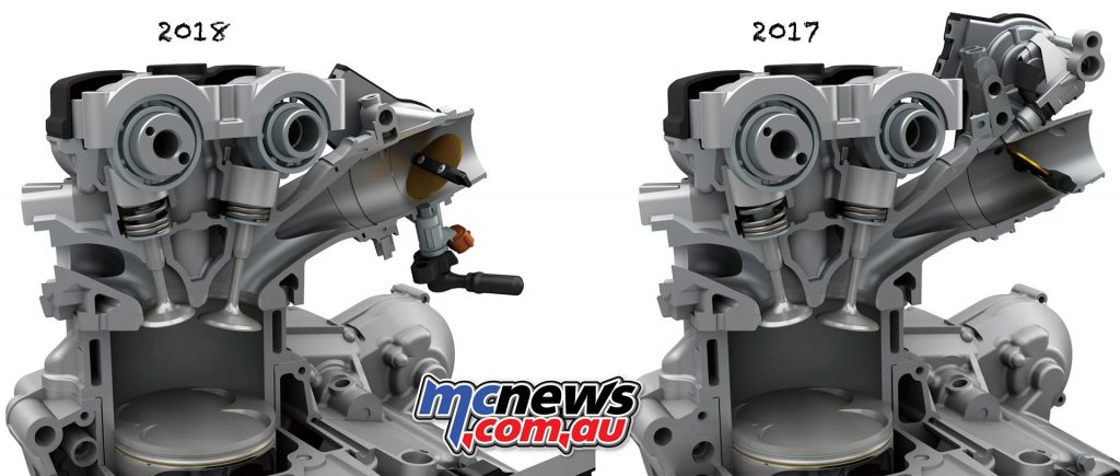 Fuel-injector spray path has also been optimised on the 2018 RM-Z450