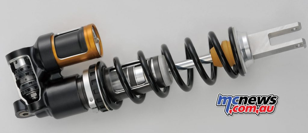 The new Showa Balance Free Rear Cushion (BFRC) shock is a first on a production motocross bike