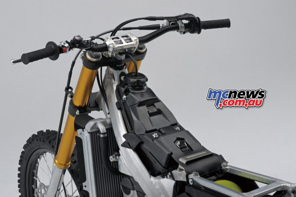 An MXGP-style mudguard helps keep mud and dirt out of the airbox