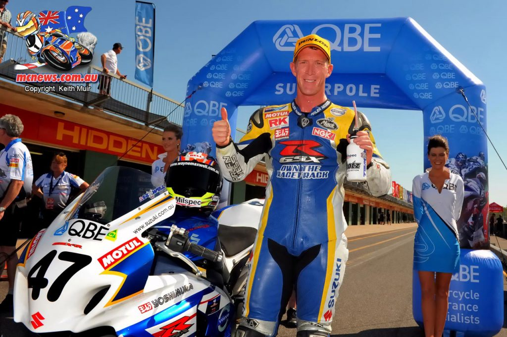 Wayne Maxwell took pole position at Hidden Valley in 2013 when riding for Suzuki. Maxwell's pole time in 2013 was a 66.997. Wayne Maxwell went on to take the 2013 ASBK Championship.