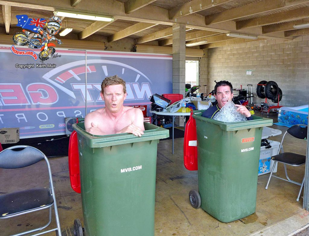 These are the lengths that Glenn Allerton and Linden Magee went to try and keep cool when ASBK visited Darwin in 2013