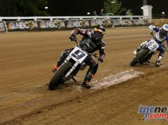 Jared Mees takes victory ahead of Sammy Halbert at the Red Mile AFT round - Image by American Flat Track/Mitch Friedman