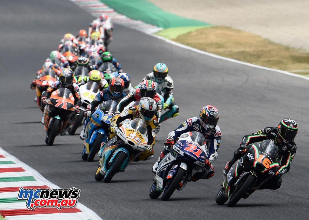 Andrea Migno (ITA - KTM) leads the Moto3 field at Mugello