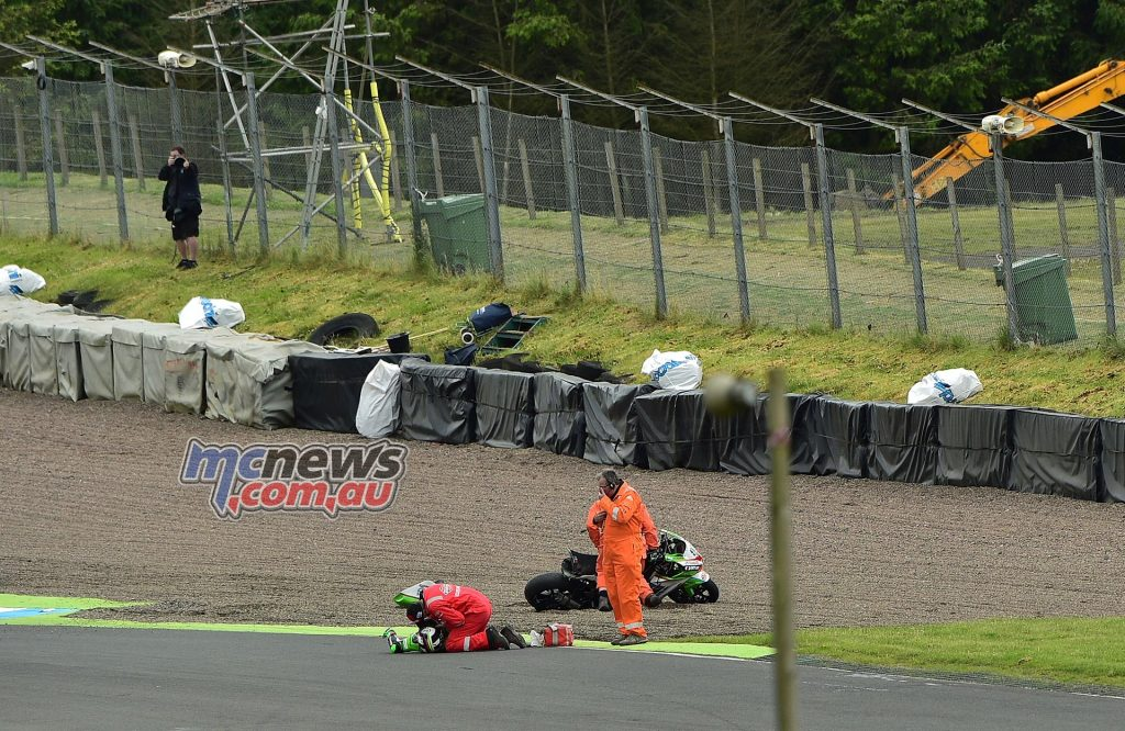 Leon Haslam treated on the scene at Knockhill - Image by Jon Jessop