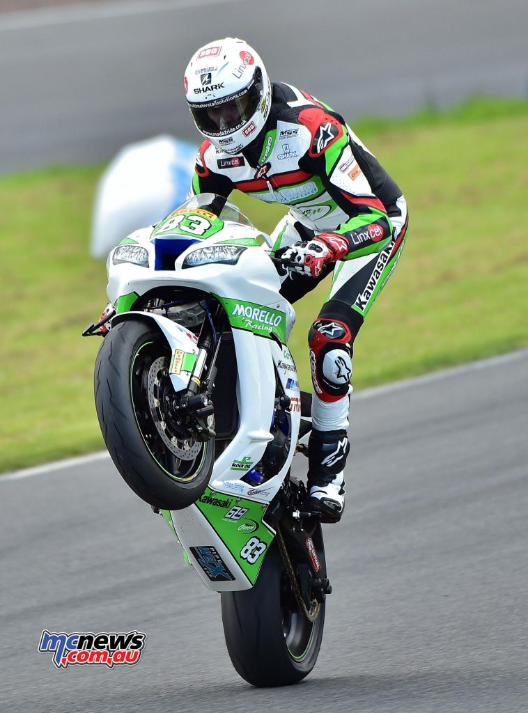 Danny Buchan powered his Morello Racing Kawasaki to a fifth victory of the season in the opening Pirelli National Superstock 1000 race at Knockhill, taking the series lead in the process. - Image by Jon Jessop