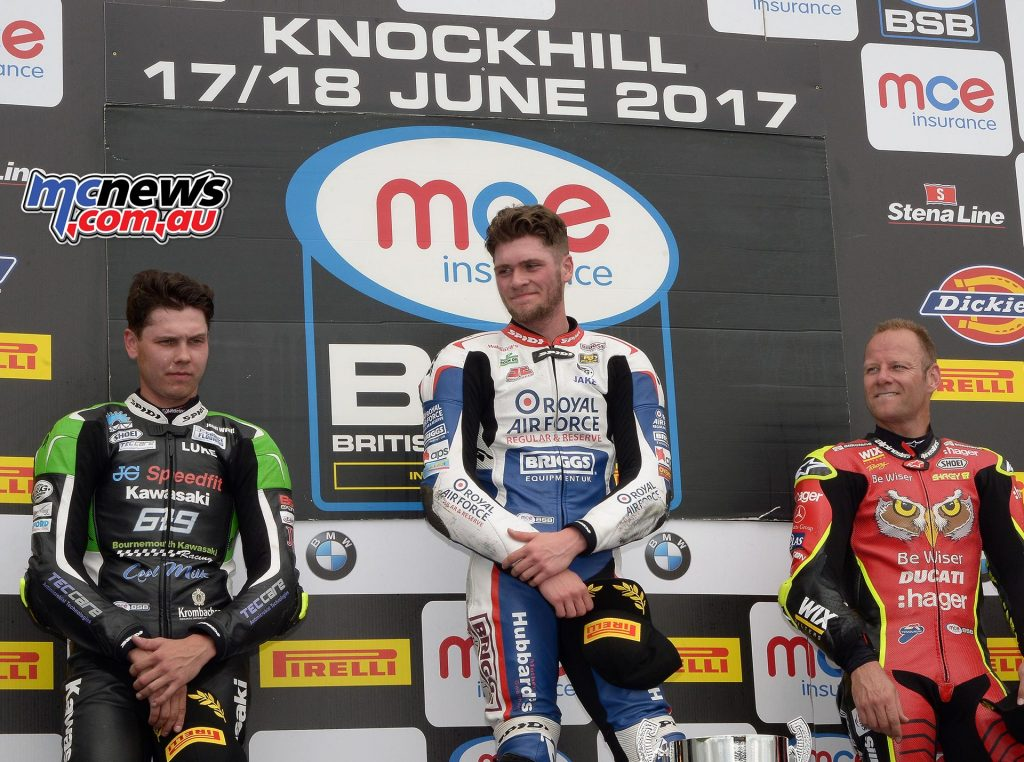MCE Insurance British Superbike Championship, Knockhill, race one result Jake Dixon (RAF Reserves Kawasaki) Luke Mossey (JG Speedfit Kawasaki) +3.740s Shane Byrne (Be Wiser Ducati) +6.159s