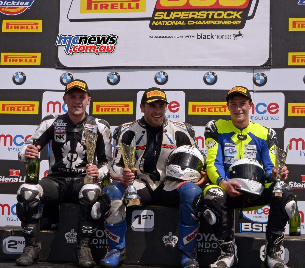British Superstock 600 Podium - Knockhill 2017 - Neave, Gilbert and Watson