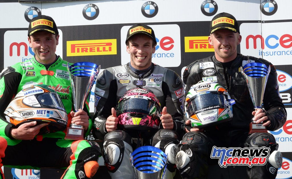 Andrew Irwin 2nd - Jack Kennedy - 3rd - Keith Farmer 1st - 2017 British Supersport Championship Knockhill Sprint Race Podium