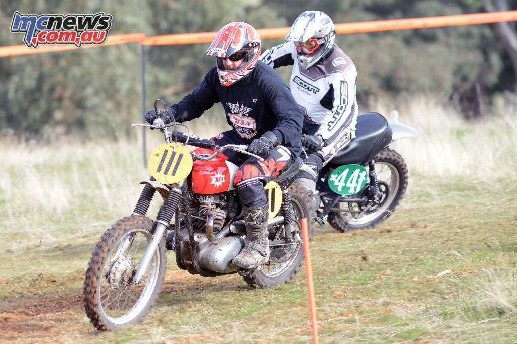 Adrian Farrall on his BSA (#111) leading at the Classic Scrambles