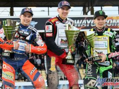 Maciej Janowski topped the Speedway GP podium, Emil Sayfutdinov flanked by Patryk Dudek