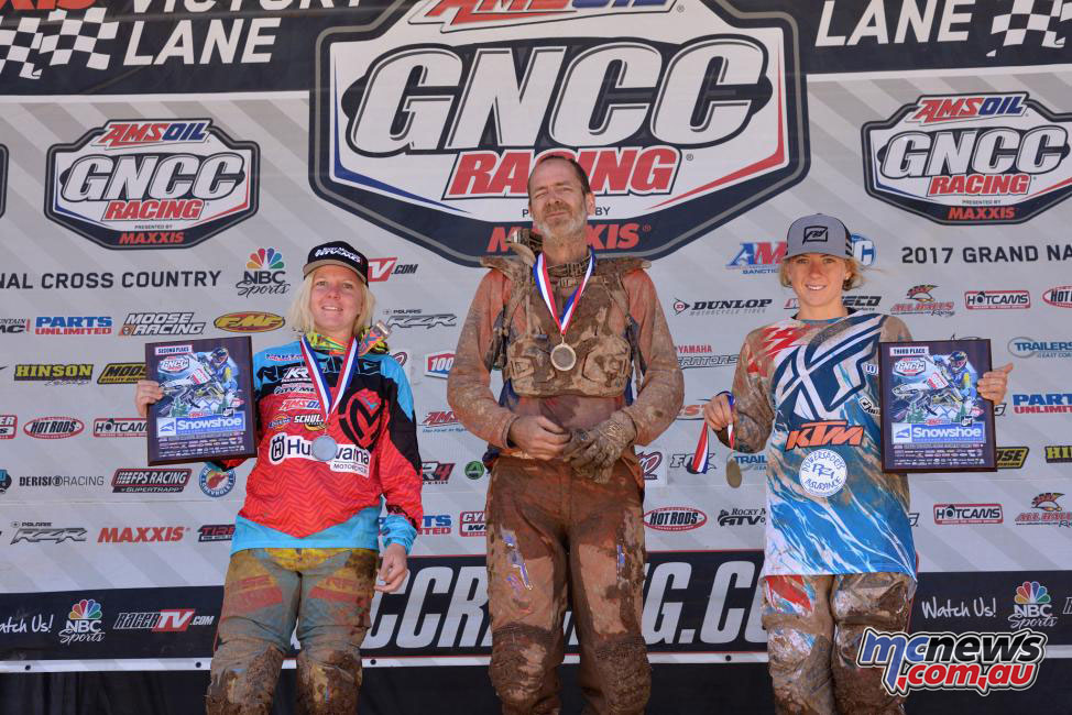 GNCC Snowshoe - 10 a.m. Overall Podium including Tayla Jones (left) - Image by Ken Hill