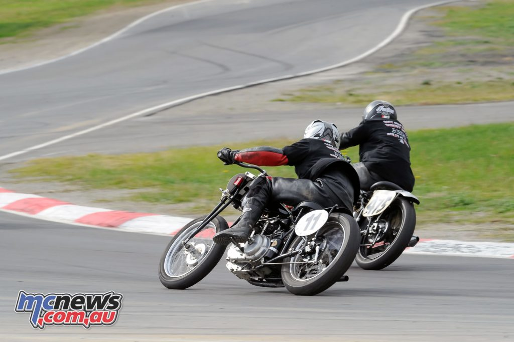 Mason Birthisel (#11 Indian Scout) around the outside at Winton