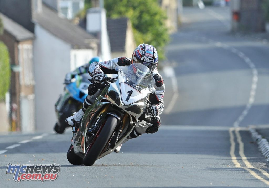 David Johnson on the Norton during TT practice overnight