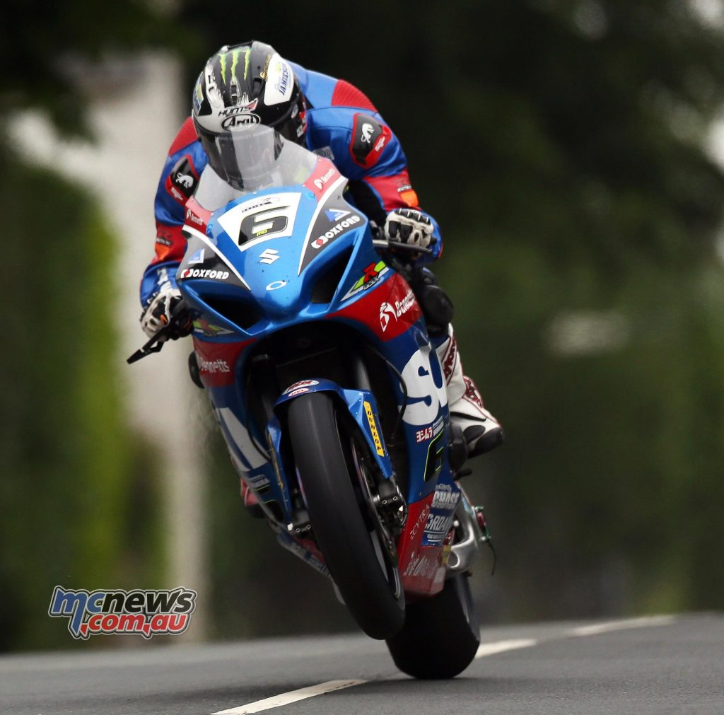 Michael Dunlop on the Suzuki during practice overnight at TT 2017