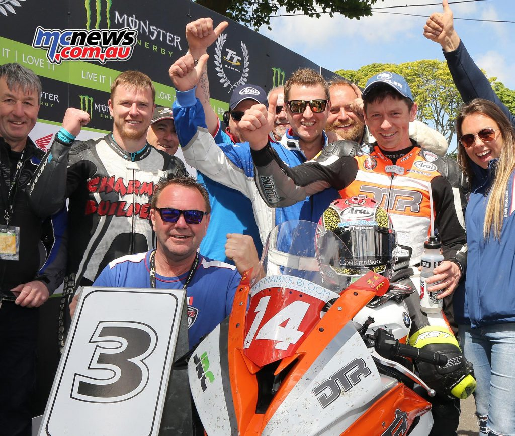 Dan Kneen and crew celebrate his first TT podium