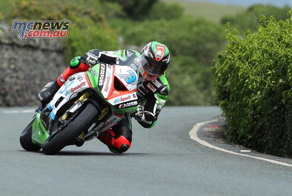 James Hillier exiting Ramsey in the 2017 Supersport TT