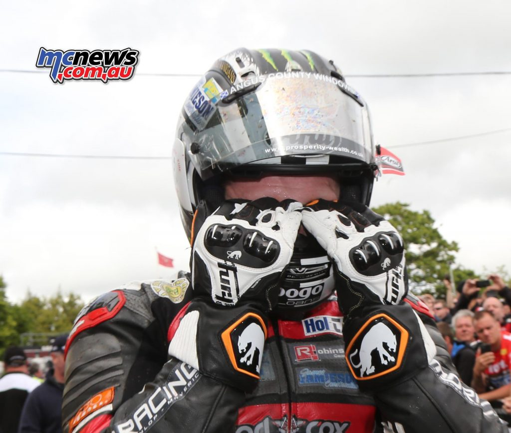 Michael Dunlop was emotional after making up for his disappointment in the Superbike TT by claiming a resounding Supersport TT victory
